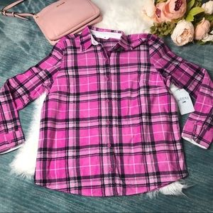 NWT Riders by Lee Pink Fleece Plaid Shirt Size M